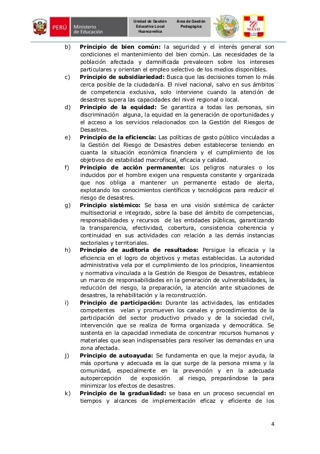 4 Unidad de Gestión Educativa Local Huancavelica Área de Gestión Pedagógica b) Principio de bien común: la seguridad y el ...