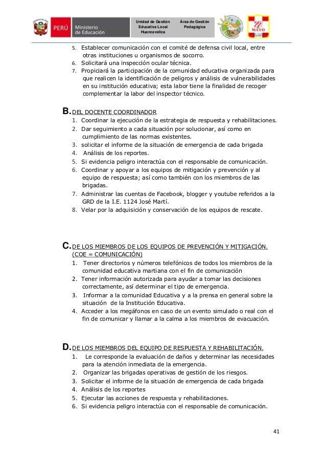 41 Unidad de Gestión Educativa Local Huancavelica Área de Gestión Pedagógica 5. Establecer comunicación con el comité de d...
