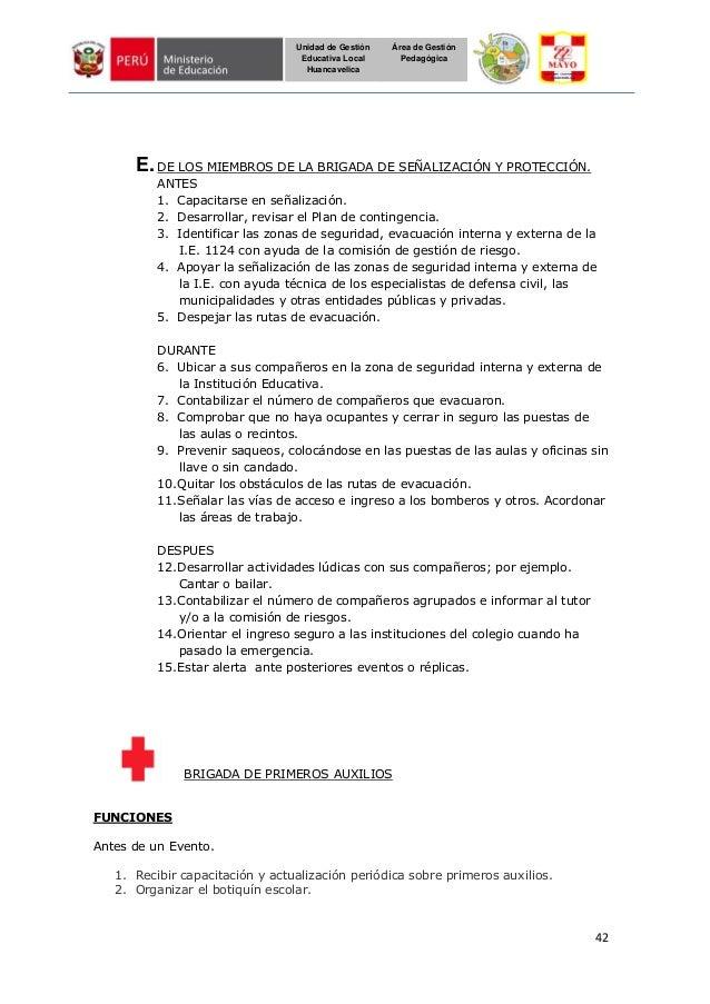 42 Unidad de Gestión Educativa Local Huancavelica Área de Gestión Pedagógica E.DE LOS MIEMBROS DE LA BRIGADA DE SEÑALIZACI...