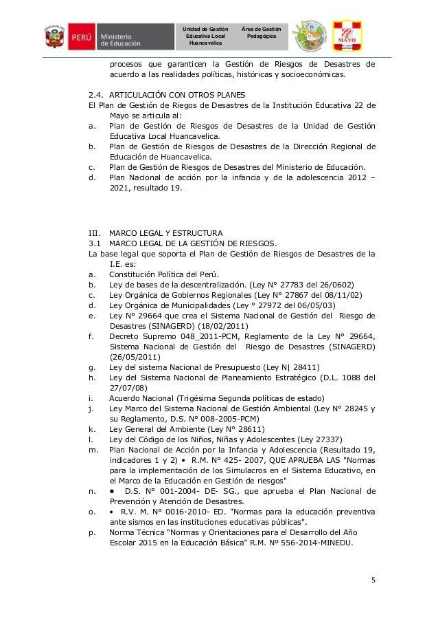 5 Unidad de Gestión Educativa Local Huancavelica Área de Gestión Pedagógica procesos que garanticen la Gestión de Riesgos ...