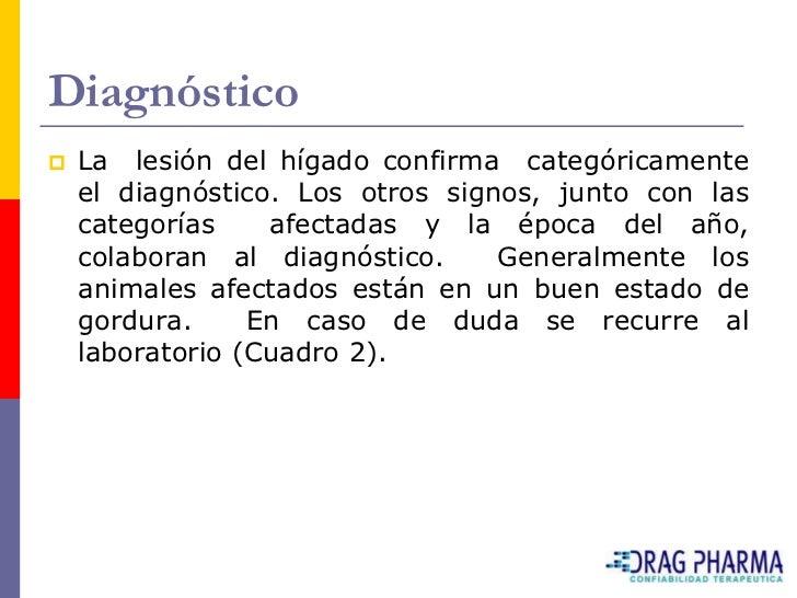 Diagnóstico    La lesión del hígado confirma categóricamente     el diagnóstico. Los otros signos, junto con las     cate...