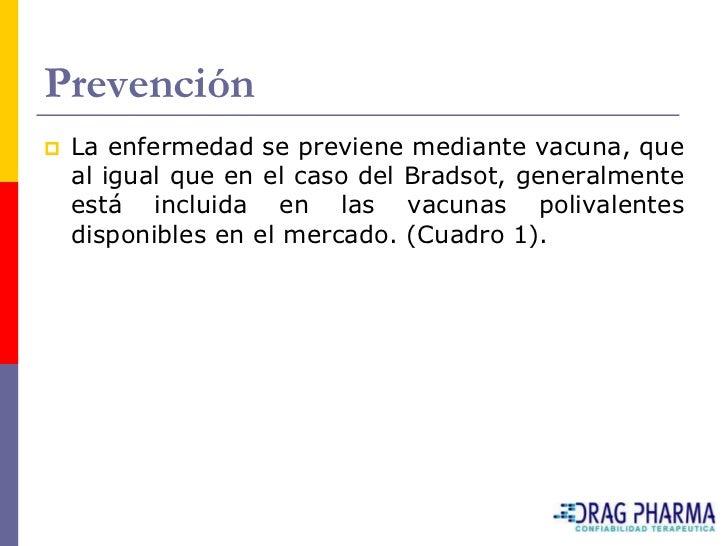 Prevención    La enfermedad se previene mediante vacuna, que     al igual que en el caso del Bradsot, generalmente     es...