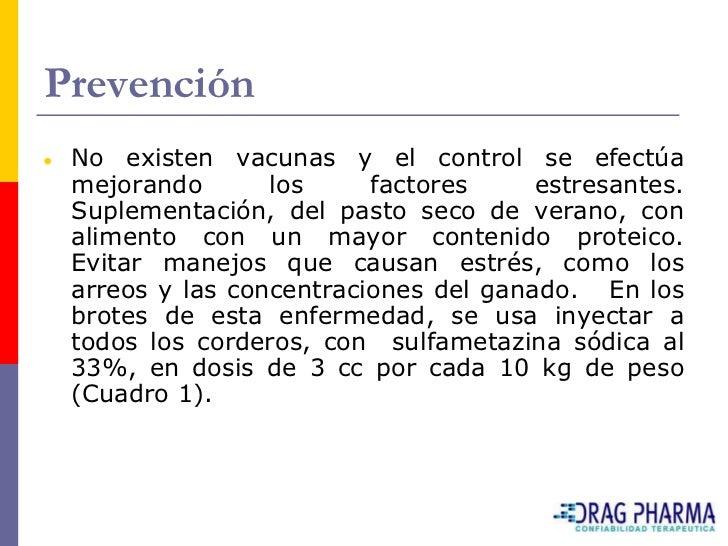 Prevención  No existen vacunas y el control se efectúa  mejorando       los     factores     estresantes.  Suplementación,...