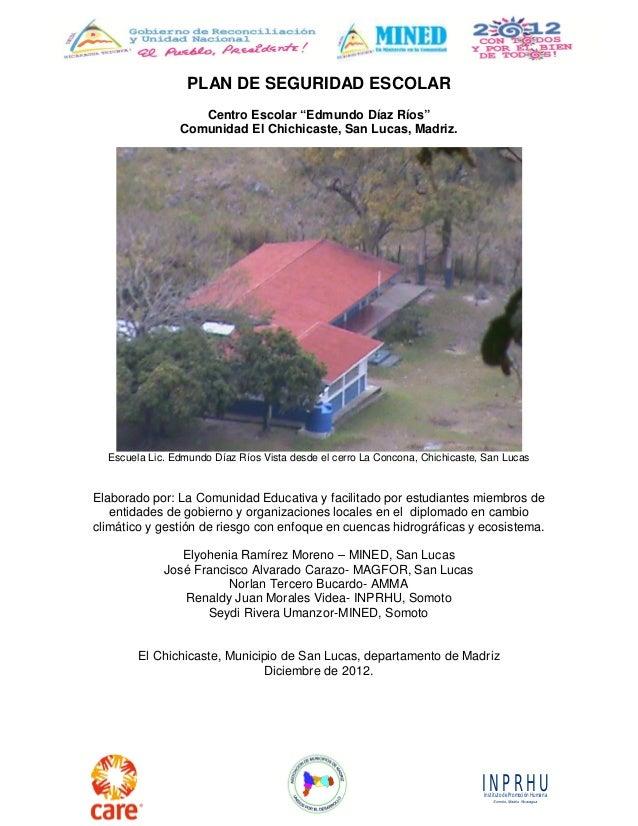 "INPRHU Instituto de Promoción Humana  Somoto, Madriz, Nicaragua  PLAN DE SEGURIDAD ESCOLAR  Centro Escolar ""Edmundo Díaz R..."