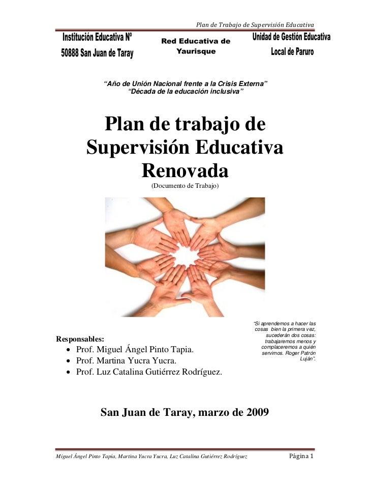 """PlandeTrabajodeSupervisiónEducativa                        """"Año de Unión Nacional frente a la Crisis Externa""""      ..."""