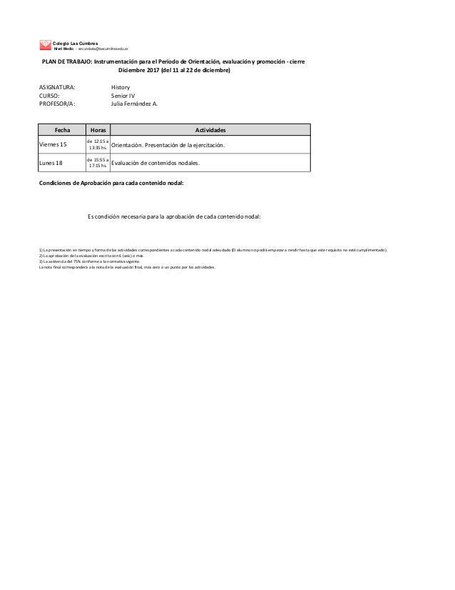 Colegio Las Cumbres Nivel Medio - secundaria@lascumbres.edu.ar ASIGNATURA: History CURSO: Senior IV PROFESOR/A: Julia Fern...
