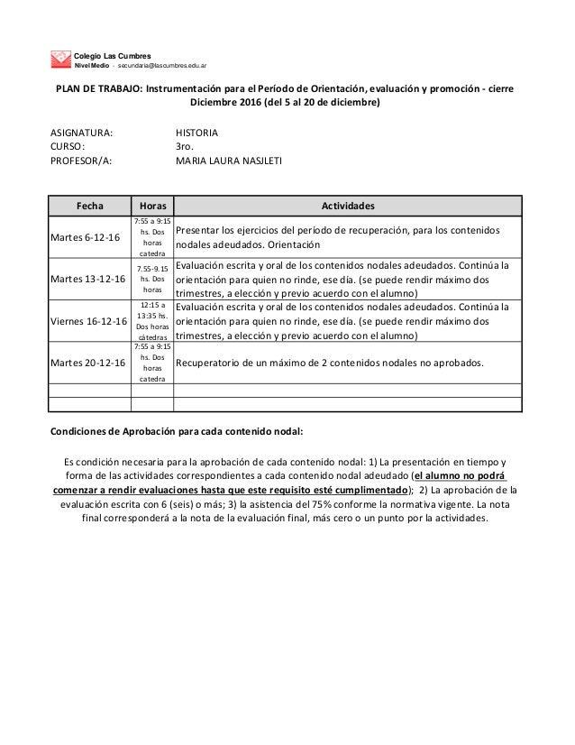 Colegio Las Cumbres Nivel Medio - secundaria@lascumbres.edu.ar ASIGNATURA: HISTORIA CURSO: 3ro. PROFESOR/A: MARIA LAURA NA...