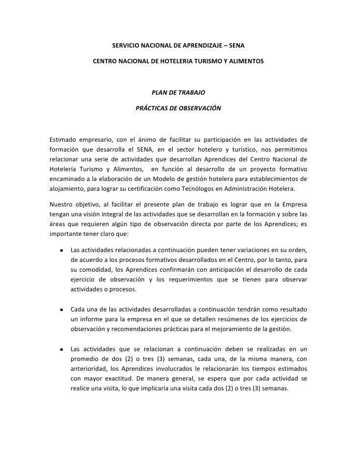 SERVICIO NACIONAL DE APRENDIZAJE – SENA<br />CENTRO NACIONAL DE HOTELERIA TURISMO Y ALIMENTOS<br />PLAN DE TRABAJO<br />PR...