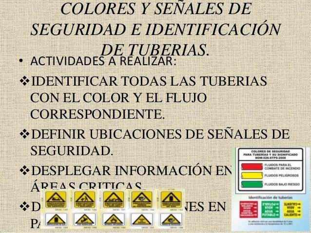 COLORES Y SEÑALES DE SEGURIDAD E IDENTIFICACIÓN DE TUBERIAS. • ACTIVIDADES A REALIZAR: IDENTIFICAR TODAS LAS TUBERIAS CON...