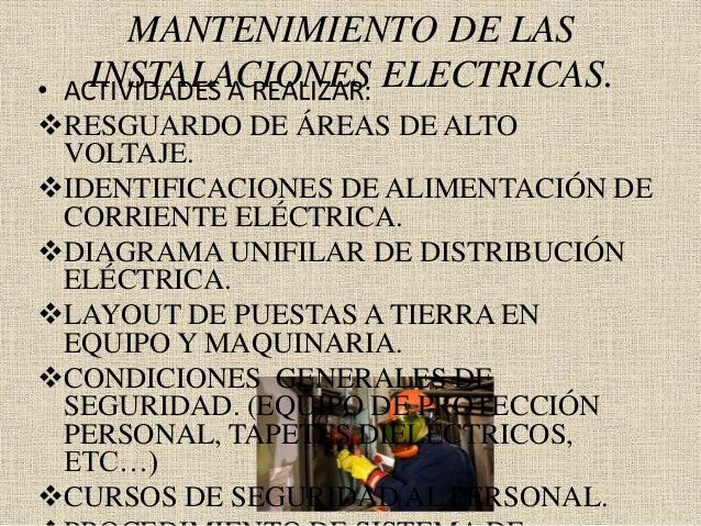 MANTENIMIENTO DE LAS INSTALACIONES ELECTRICAS.• ACTIVIDADES A REALIZAR: RESGUARDO DE ÁREAS DE ALTO VOLTAJE. IDENTIFICACI...