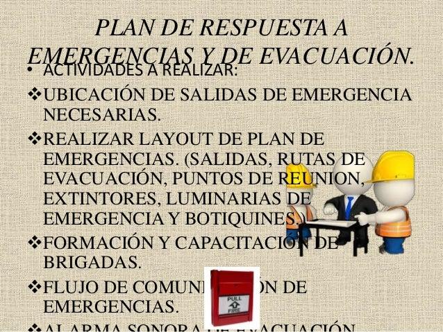 PLAN DE RESPUESTA A EMERGENCIAS Y DE EVACUACIÓN.• ACTIVIDADES A REALIZAR: UBICACIÓN DE SALIDAS DE EMERGENCIA NECESARIAS. ...
