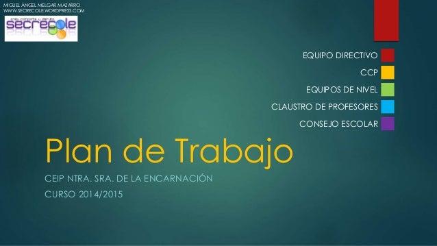 Plan de Trabajo  CEIP NTRA. SRA. DE LA ENCARNACIÓN  CURSO 2014/2015  EQUIPO DIRECTIVO  CCP  EQUIPOS DE NIVEL  CLAUSTRO DE ...