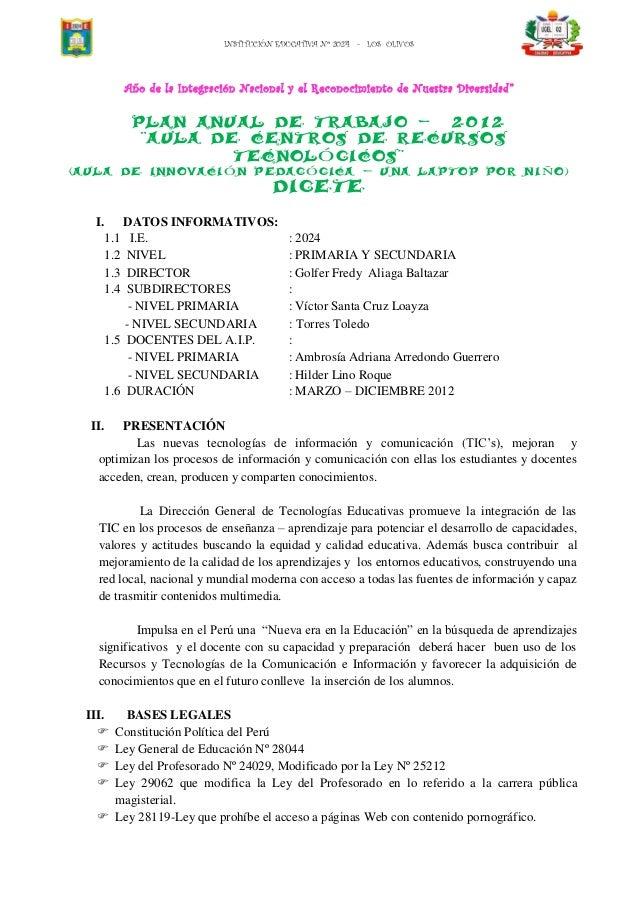 INSTITUCIÓN EDUCATIVA Nº 2024 - LOS OLIVOS           Año de la Integración Nacional y el Reconocimiento de Nuestra Diversi...