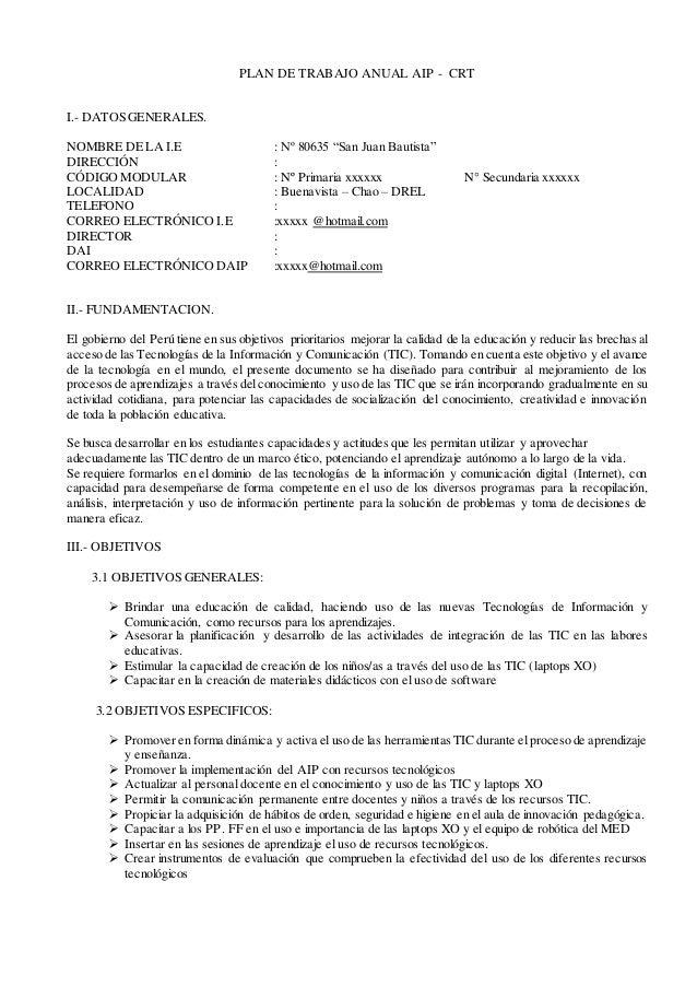 "PLAN DE TRABAJO ANUAL AIP - CRT I.- DATOS GENERALES. NOMBRE DE LA I.E : Nº 80635 ""San Juan Bautista"" DIRECCIÓN : CÓDIGO MO..."