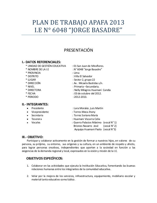 "PLAN DE TRABAJO APAFA 2013          I.E N° 6048 ""JORGE BASADRE""                                    PRESENTACIÓNI.- DATOS R..."