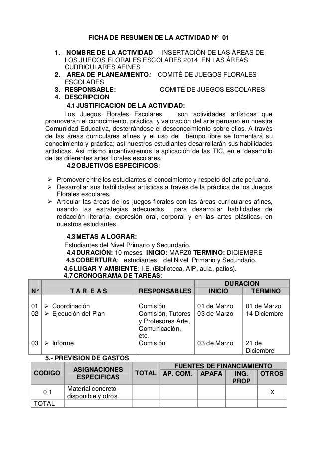 FICHA DE RESUMEN DE LA ACTIVIDAD Nº 01 1. NOMBRE DE LA ACTIVIDAD : INSERTACIÓN DE LAS ÁREAS DE LOS JUEGOS FLORALES ESCOLAR...