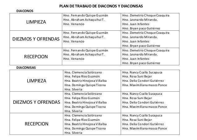 Plan de trabajo de diaconos y diaconisas for Empleo limpieza oficinas