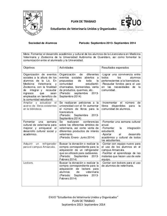"""EVUO """"Estudiantes de Veterinaria Unidos y Organizados"""" PLAN DE TRABAJO Septiembre 2013- Septiembre 2014 PLAN DE TRABAJO Es..."""