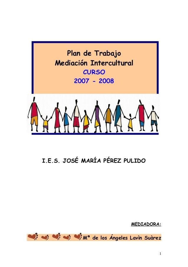 Plan de Trabajo Mediación Intercultural CURSO 2007 - 2008 I.E.S. JOSÉ MARÍA PÉREZ PULIDO MEDIADORA: Mª de los Ángeles Lavì...