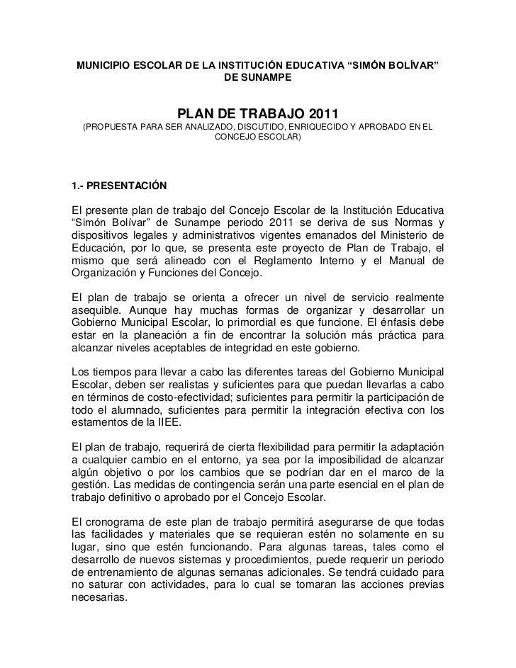 Plan de trabajo municipio escolar 2011 for Trabajo en comedores escolares bogota