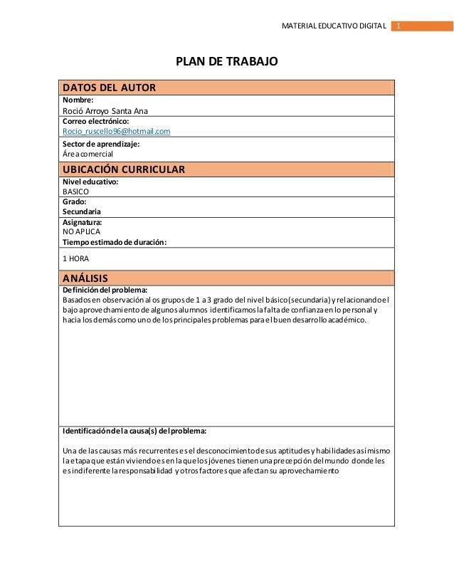 1MATERIAL EDUCATIVODIGITAL PLAN DE TRABAJO DATOS DEL AUTOR Nombre: Roció Arroyo Santa Ana Correo electrónico: Rocio_ruscel...