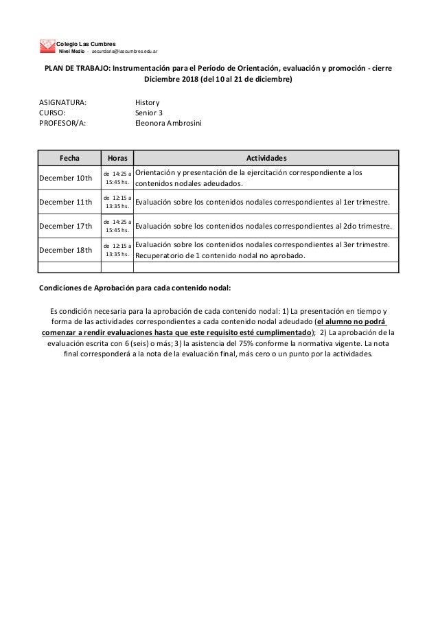 Colegio Las Cumbres Nivel Medio - secundaria@lascumbres.edu.ar ASIGNATURA: History CURSO: Senior 3 PROFESOR/A: Eleonora Am...