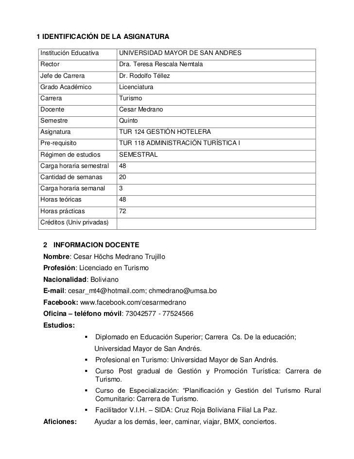 1 IDENTIFICACIÓN DE LA ASIGNATURAInstitución Educativa         UNIVERSIDAD MAYOR DE SAN ANDRESRector                      ...