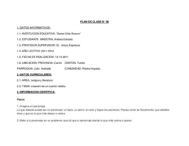 """PLAN DE CLASE N° 581.-DATOS INFORMATIVOS:1.1.-INSTITUCION EDUCATIVA: """"Daniel Ortiz Rosero""""1.2. ESTUDIANTE MAESTRA: Andrea ..."""
