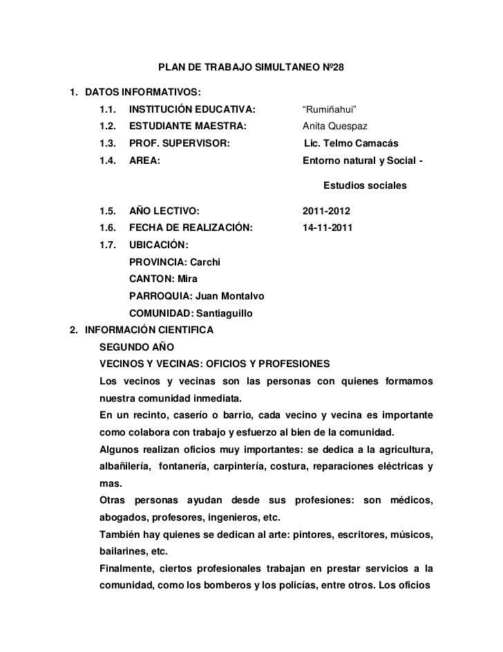 """PLAN DE TRABAJO SIMULTANEO Nº281. DATOS INFORMATIVOS:     1.1.   INSTITUCIÓN EDUCATIVA:              """"Rumiñahui""""     1.2. ..."""