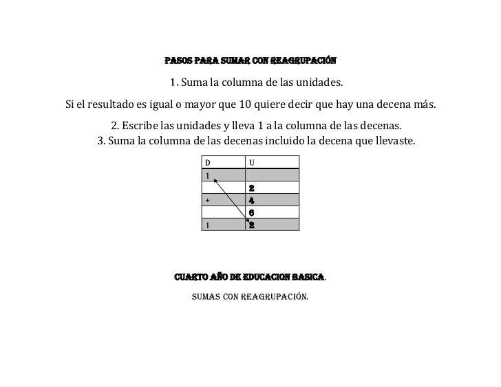 Pasos para sumar con reagrupación                     1. Suma la columna de las unidades.Si el resultado es igual o mayor ...