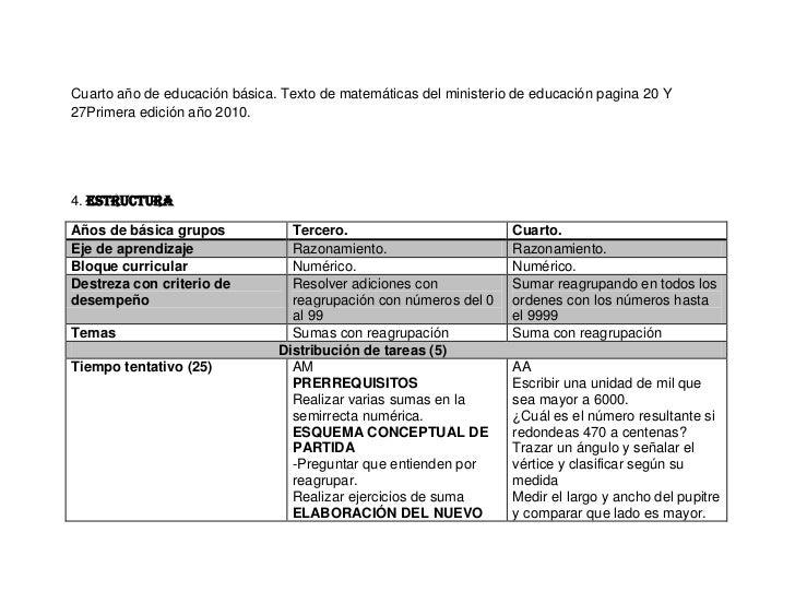 Cuarto año de educación básica. Texto de matemáticas del ministerio de educación pagina 20 Y27Primera edición año 2010.4. ...
