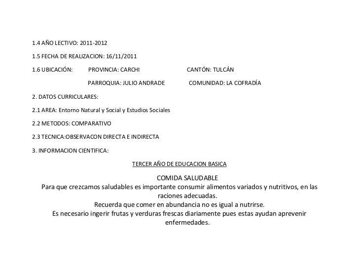 1.4 AÑO LECTIVO: 2011-20121.5 FECHA DE REALIZACION: 16/11/20111.6 UBICACIÓN:        PROVINCIA: CARCHI                  CAN...