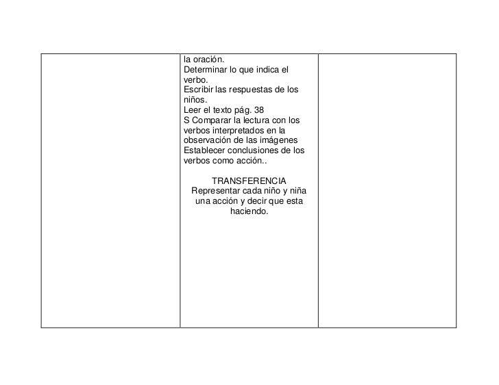 la oración.Determinar lo que indica elverbo.Escribir las respuestas de losniños.Leer el texto pág. 38S Comparar la lectura...