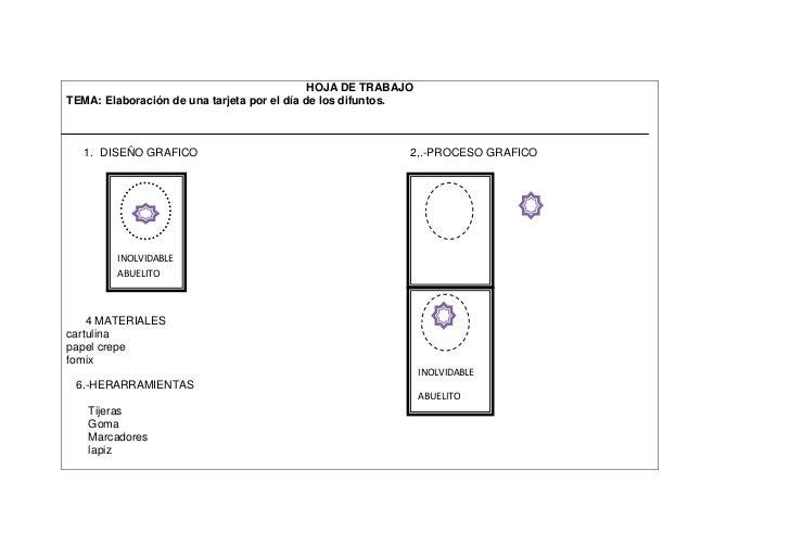 HOJA DE TRABAJOTEMA: Elaboración de una tarjeta por el día de los difuntos.  1. DISEÑO GRAFICO                            ...