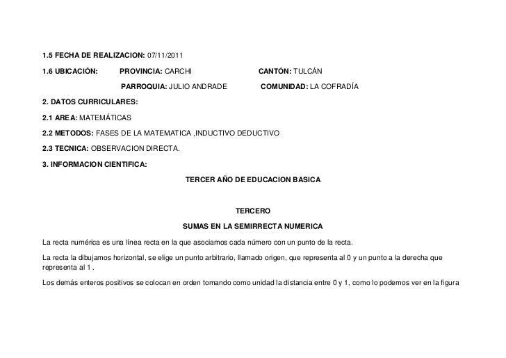 1.5 FECHA DE REALIZACION: 07/11/20111.6 UBICACIÓN:          PROVINCIA: CARCHI                           CANTÓN: TULCÁN    ...