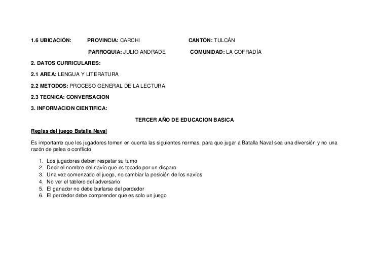 1.6 UBICACIÓN:          PROVINCIA: CARCHI                         CANTÓN: TULCÁN                        PARROQUIA: JULIO A...