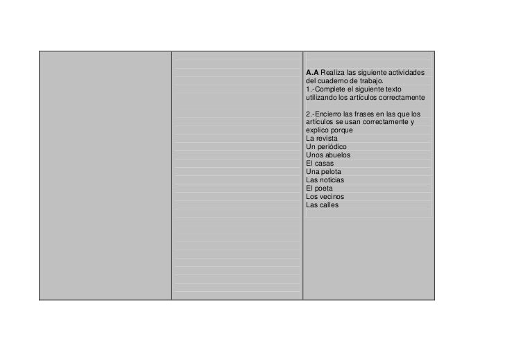 A.A Realiza las siguiente actividadesdel cuaderno de trabajo.1.-Complete el siguiente textoutilizando los artículos correc...