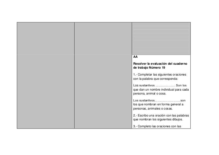 AAResolver la evaluación del cuadernode trabajo Número 191.- Completar las siguientes oracionescon la palabra que correspo...