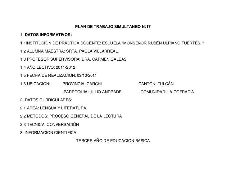 PLAN DE TRABAJO SIMULTANEO №171. DATOS INFORMATIVOS:1.1INSTITUCION DE PRÁCTICA DOCENTE: ESCUELA ―MONSEÑOR RUBÉN ULPIANO FU...
