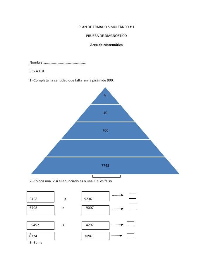 PLAN DE TRABAJO SIMULTÁNEO # 1<br />PRUEBA DE DIAGNÓSTICO<br />Área de Matemática <br />Nombre:…………………………………………<br />5to.A...
