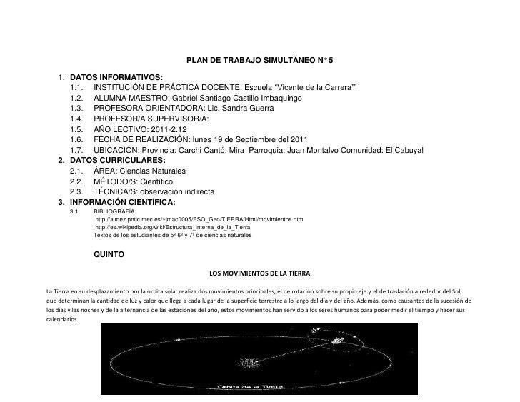 """PLAN DE TRABAJO SIMULTÁNEO N° 5<br />DATOS INFORMATIVOS:<br />INSTITUCIÓN DE PRÁCTICA DOCENTE: Escuela """"Vicente de la Carr..."""