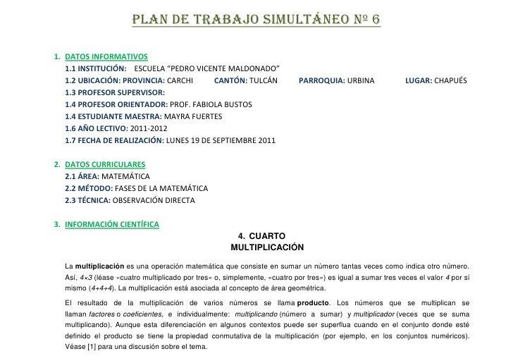 """PLAN DE TRABAJO SIMULTÁNEO Nº 61. DATOS INFORMATIVOS   1.1 INSTITUCIÓN: ESCUELA """"PEDRO VICENTE MALDONADO""""   1.2 UBICACIÓN:..."""