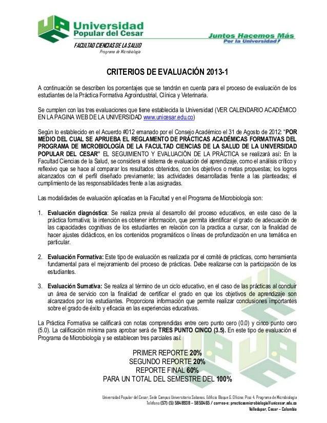FACULTAD CIENCIAS DE LA SALUD                          Programa de Microbiología                              CRITERIOS DE...