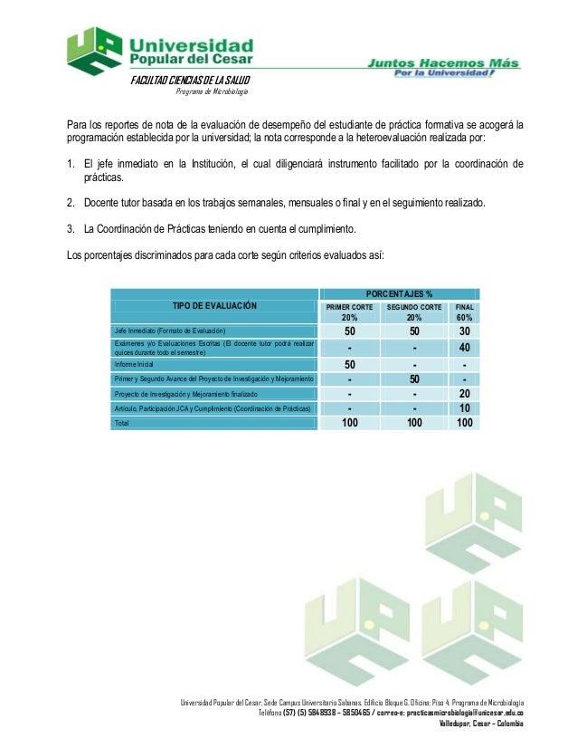 FACULTAD CIENCIAS DE LA SALUD                                Programa de MicrobiologíaPara los reportes de nota de la eval...
