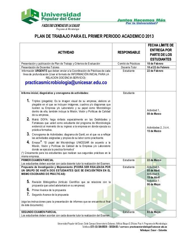 FACULTAD CIENCIAS DE LA SALUD                               Programa de Microbiología            PLAN DE TRABAJO PARA EL P...