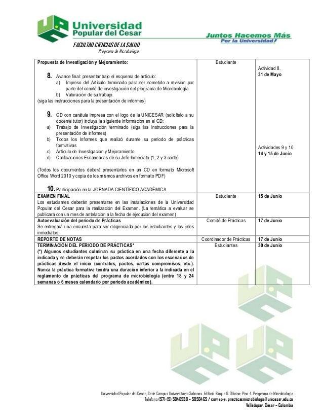 FACULTAD CIENCIAS DE LA SALUD                               Programa de MicrobiologíaPropuesta de Investigación y Mejorami...
