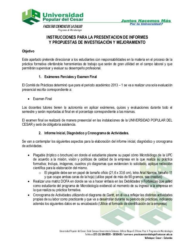 FACULTAD CIENCIAS DE LA SALUD                          Programa de Microbiología                 INSTRUCCIONES PARA LA PRE...