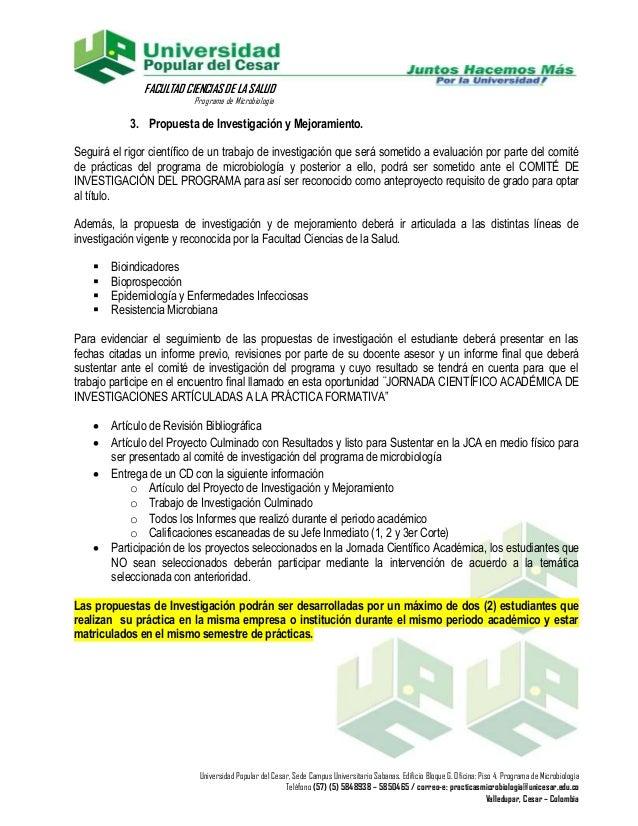 FACULTAD CIENCIAS DE LA SALUD                          Programa de Microbiología            3. Propuesta de Investigación ...