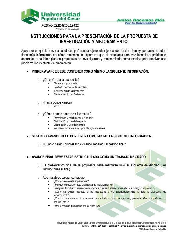 FACULTAD CIENCIAS DE LA SALUD                         Programa de Microbiología       INSTRUCCIONES PARA LA PRESENTACIÓN D...