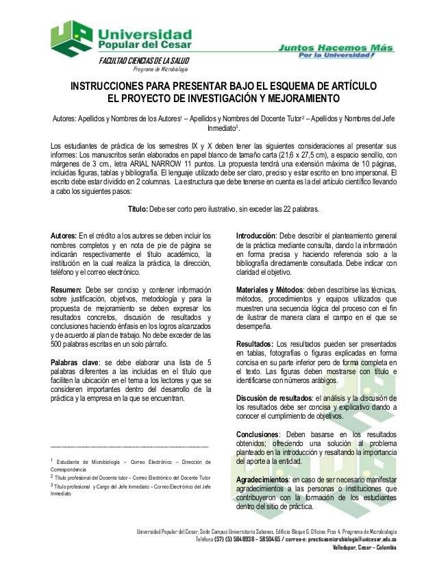 FACULTAD CIENCIAS DE LA SALUD                                       Programa de Microbiología         INSTRUCCIONES PARA P...